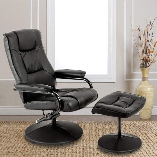 Recliner Chair Armchair With Footstool Swivel Faux Leather ...
