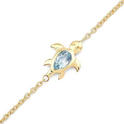 Fast Deliver Fußkette/fußkettchen-schildkröte Turtle Mit Blautopas-silber/gold Fine Anklets Fine Jewelry