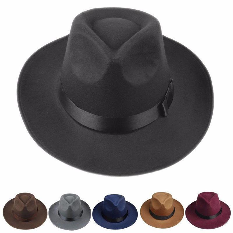 Retro Men Women Hard Felt Trilby Fedora Hat with Wide Brim Gangster Cap