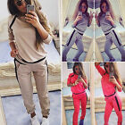 Womens 2Pcs Tracksuit Sweatshirt Hoodies Pants Jogging Suit Casual Sportwear Set