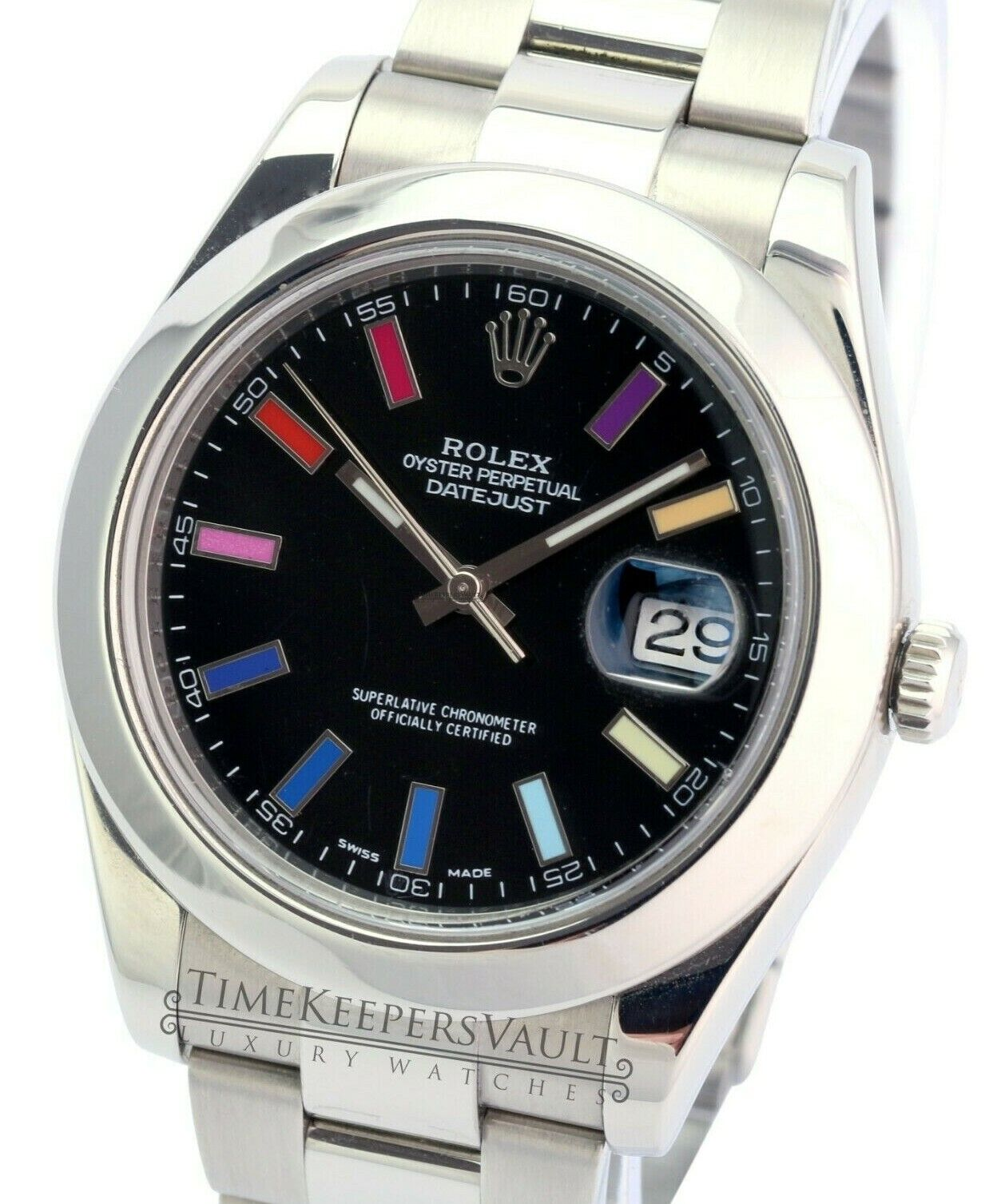 Details about Rolex Datejust Mens II 116300 Black Rainbow Index Dial Smooth  Bezel 41mm Watch