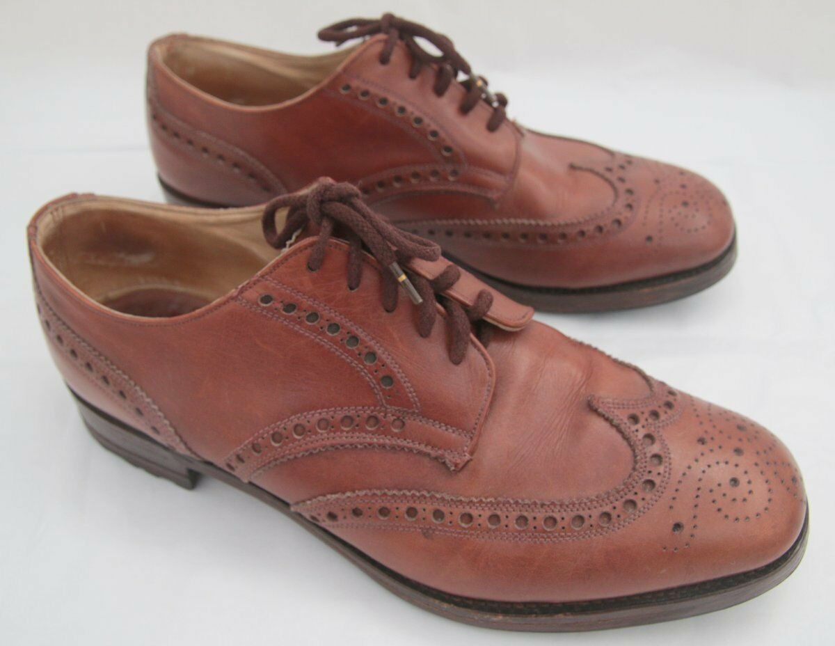 VINTAGE SUPER Regent Cravatta Punta Derby Quadrata 5 Scarpe Brogue Derby Punta in Marrone Medio Misura 10 059850