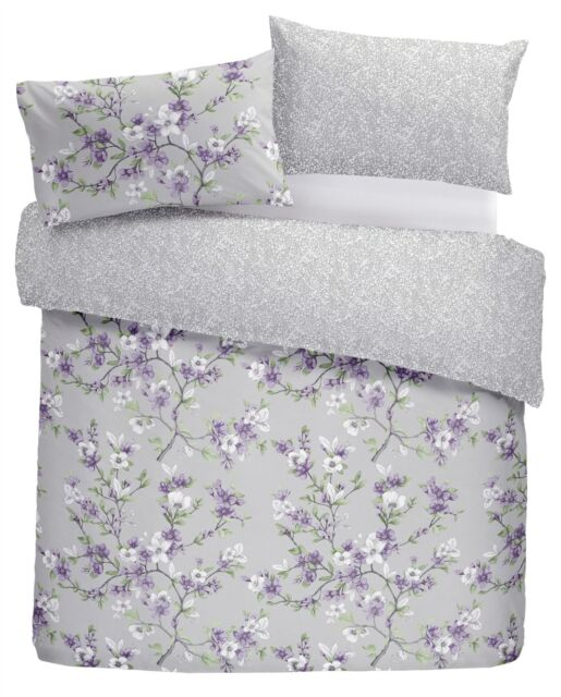 HAND-DRAWN STYLE FLORAL FLOWERS LILAC SINGLE DUVET COVER