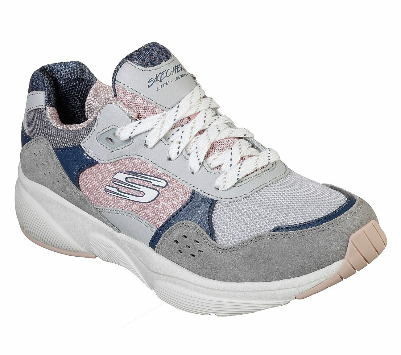 Skechers 13019 GYPK Grey Pink Colourblocked Women's Trainers