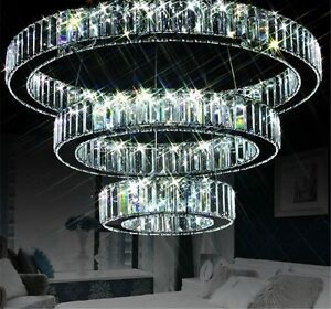 Chandelier pendant lighting Crystal Image Is Loading Modernledk9crystal3ringcircle60x40x20cm Ebay Modern Led K9 Crystal Ring Circle 60x40x20cm Ceiling Chandelier