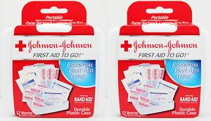 2pk Johnson & Johnson First Aid Travel Kit To Go 12 Items Each