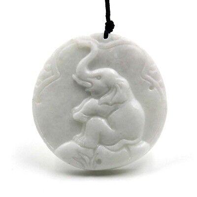 White Jade Pendant Happy Lucky Elephant