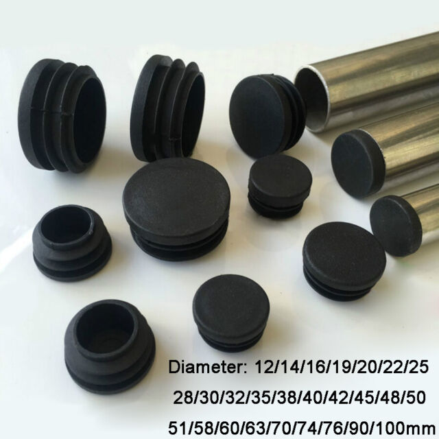 15 Pieces Black Plastic Blanking End Cap Round Tube Insert Pipe Bung 25mm 1-inch