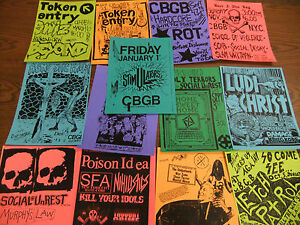 CBGB-Repo-Punk-Flyer-LOT-Token-Entry-Cro-Mags-Ludichrist-Stimulators-Poison-Idea