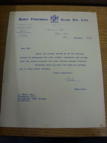 01021950 Bury Official Letter from Secretary L Rimmer, requesting details of