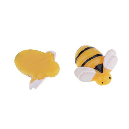 10pcs mini Bee forma resina Flatback adornar miniatura jardín ornamentos