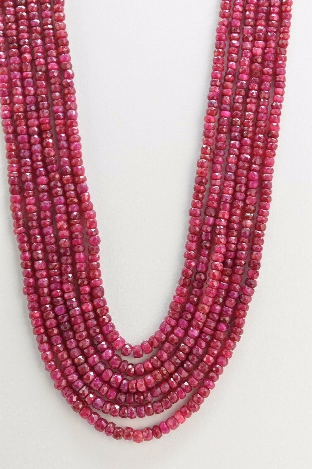 Natural Ruby Micro Faceted Rondelle Beads 3.2 - 4.5 mm, AA Quality