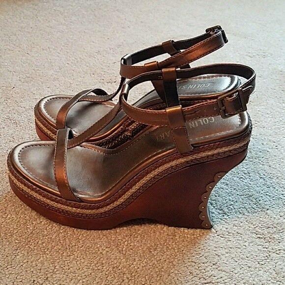 Colin Colin Colin Stuart damen t-strap wooden wedge heels bronze Größe 7 New 6e7948