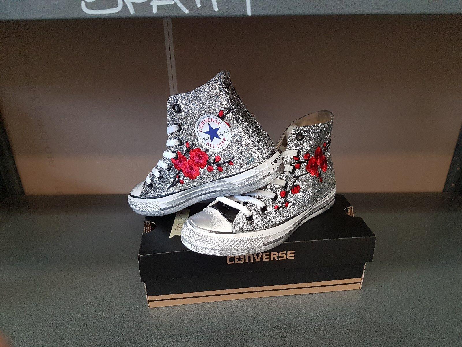 Converse all star  personalizzata personalizzata personalizzata con glitter argentoo peach linguetta nera e spo 5956d7
