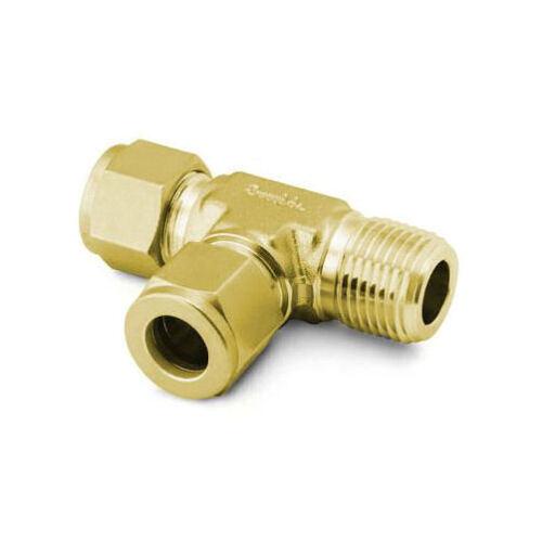 """3//8/"""" Tube x 3//8/"""" Tube x 1//4/"""" MNPT Branch Tee Fitting Brass Swagelok B-600-3TMT"""