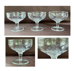 VINTAGE Champagne Glasses 6 oz. ETCHED GRAPES Clear Medium Weight 3-Piece Set