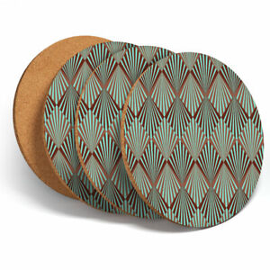 4-Set-Art-Deco-Pattern-Teal-Girls-Coasters-Kitchen-Drinks-Coaster-Gift-3055