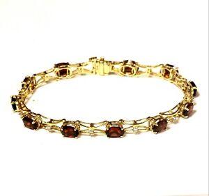 14k-yellow-gold-18ct-round-diamond-garnet-tennis-bracelet-9-3g-ladies-estate