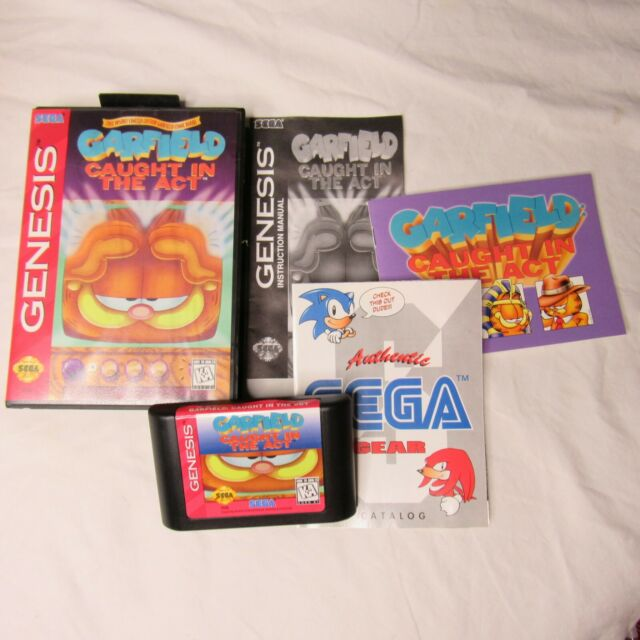 Sega Genesis Garfield Caught in the Act Complete Game Tested Works
