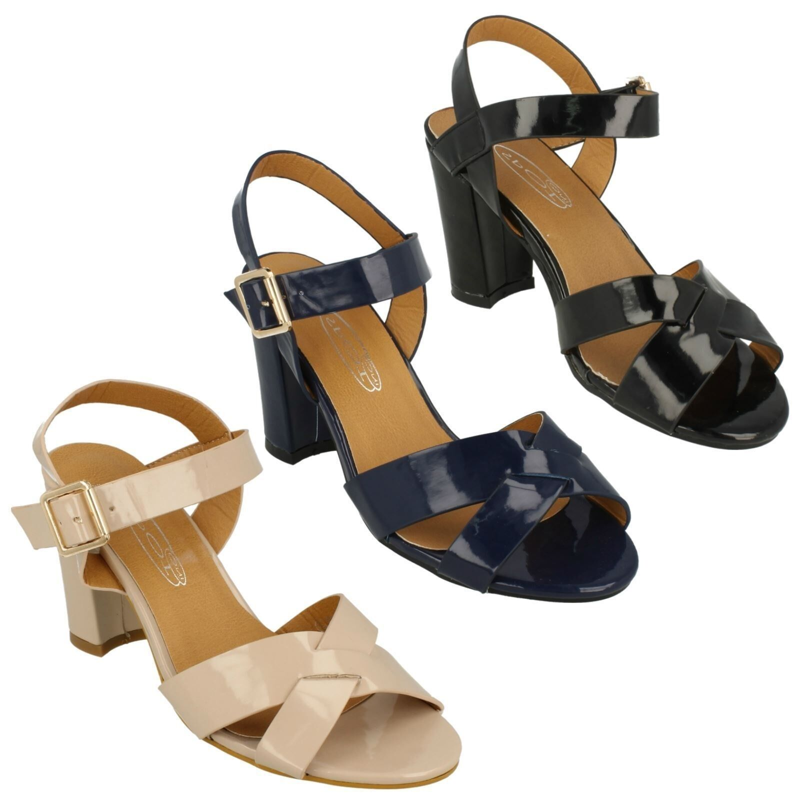 LADIES SPOT EVENING ON HIGH BLOCK HEEL BUCKLE STRAP EVENING SPOT SUMMER SANDALS F10170 9a36d4