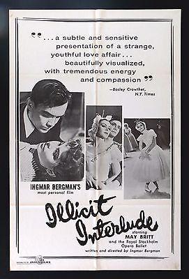 ILLICIT INTERLUDE * CineMasterpieces NO RESERVE MOVIE POSTER INGMAR BERGMAN 1951