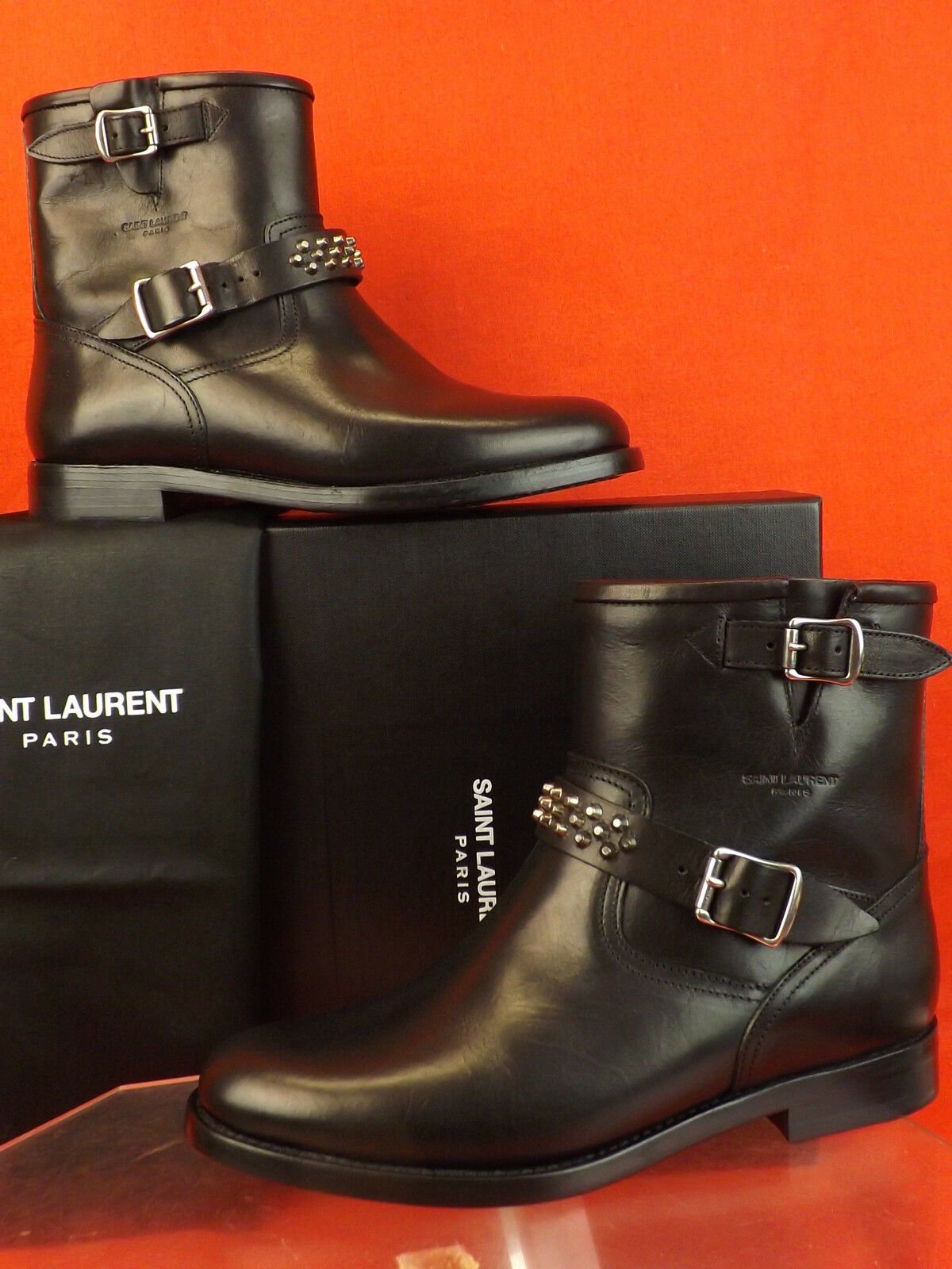NIB LAURENT YSL SAINT LAURENT NIB BLACK LEATHER STUDDED MOTO BIKER ANKLE BOOTS 37 3b78e3