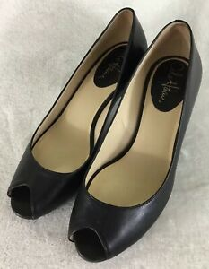 a6fb732bb6 Cole Haan Women's Veronica NikeAir Black Leather Open Toe Pumps ...