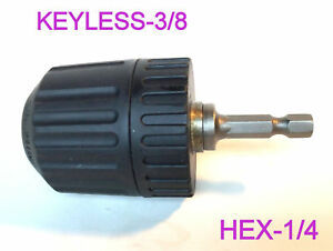 """1 pc Keyless 1/32-3/8"""" Cap Drill Chuck with Conversion 1/4"""" Hex Adapter S"""