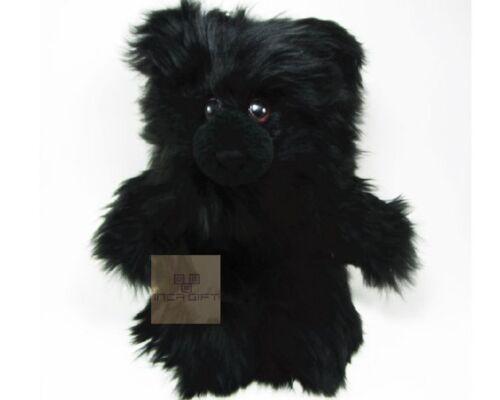 Real Super Baby Alpaca Suri Teddy  Bear Black Peruvian Stuffed Alpaca Toys 13IN