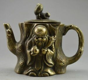 Collectible-Decorated-Old-Handwork-Copper-Carved-Squirrel-Immortal-Tree-Tea-Pot