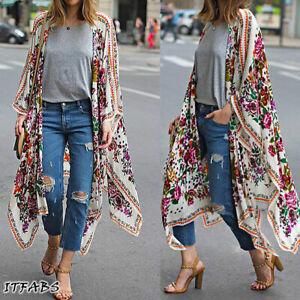 Womens-Vintage-Floral-Loose-Shawl-Long-Kimono-Cardigan-Boho-Jacket-Coat-Shirt