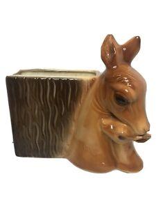 1950s Vintage Brown Deer Planter Vase Bambi Doe Kitschy Christmas Reindeer