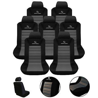 Sitzbezug Sitzschoner für VAN ohne Seitenairbag Schonbezug Schwarz//Grau AS7255-7