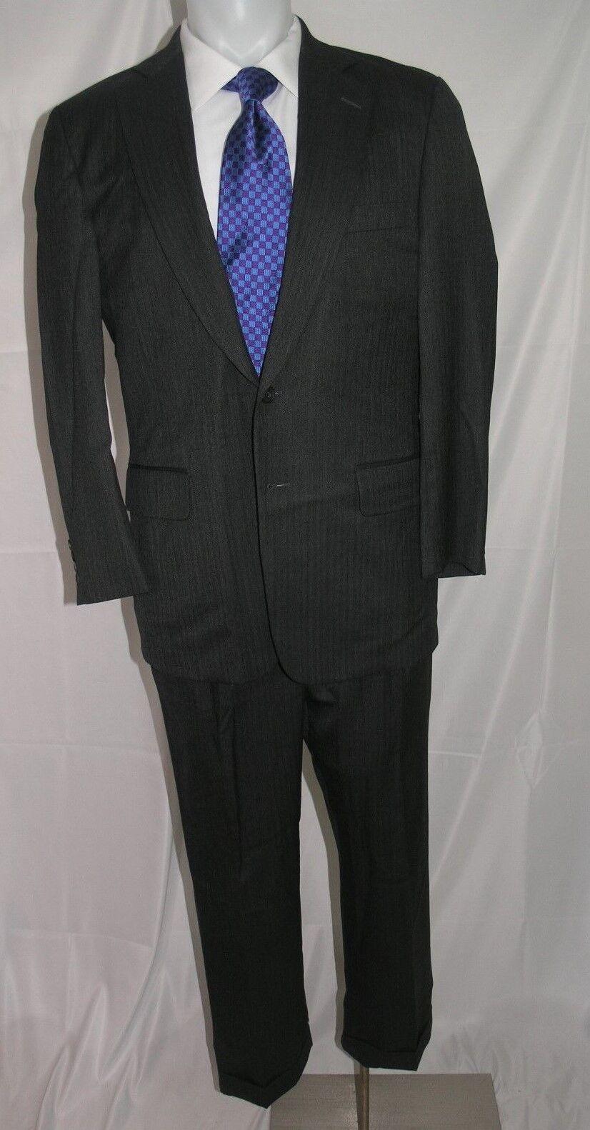 Paul Stuart Stuart II Super 120 Cashmere Blend Two Button Suit 39 R 34 x 27.5