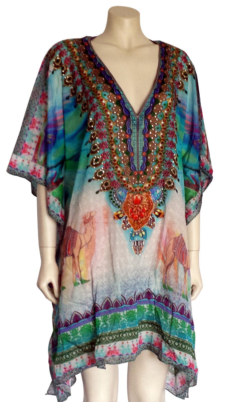 DESIGNER Short Kaftan Dress Viscose Silk Crepe Crystals Crystals Crystals Luxe FREE SIZE 6-22 1f8009