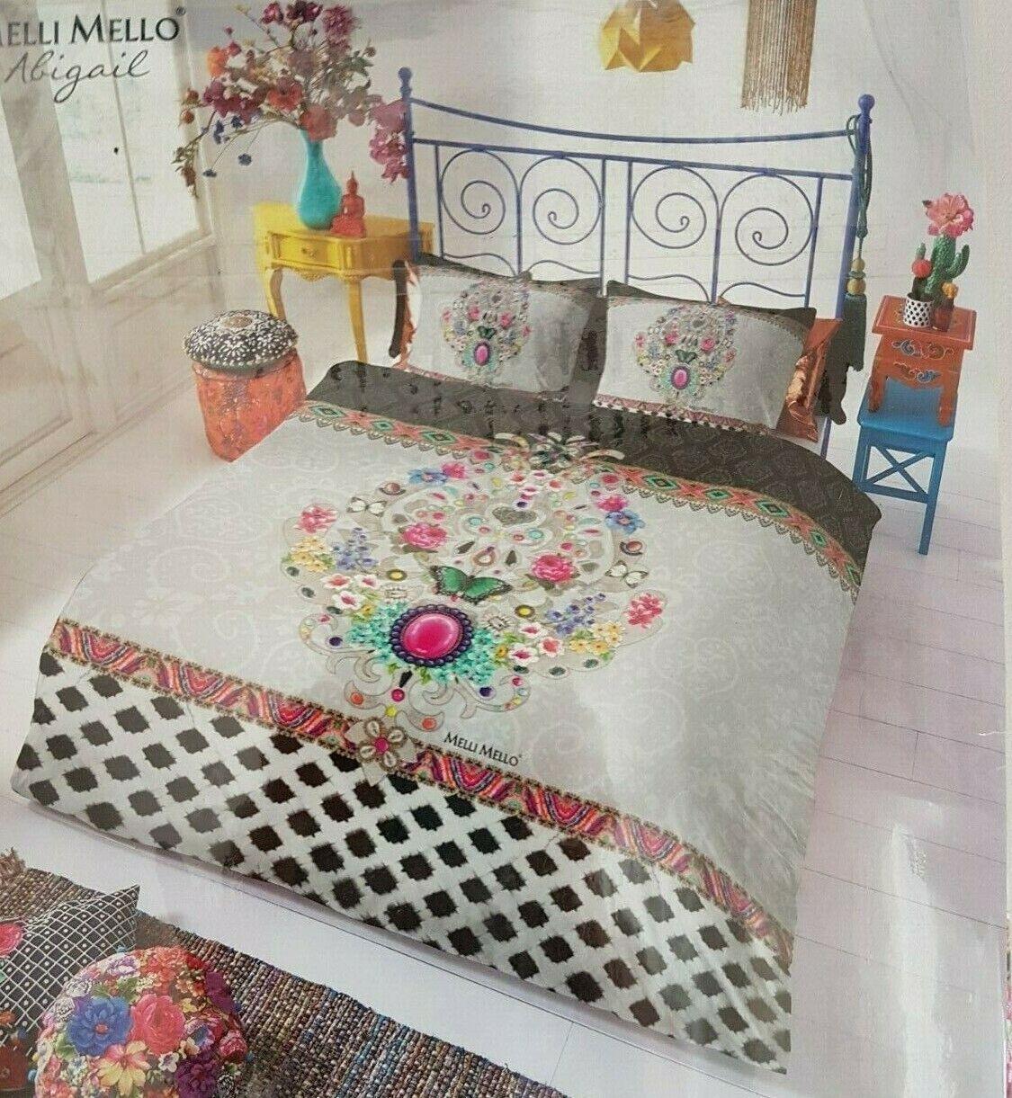 Mellito Mello Cotone Raso Biancheria da letto Abigail ornamenti 155x220 cm romantico