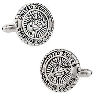 USMC-Marine-Corp-Cufflinks-Silver-Direct-from-Cuff-Daddy