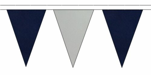 5m with 12 Flags Navy Blue /& Grey Triangular Flag Bunting