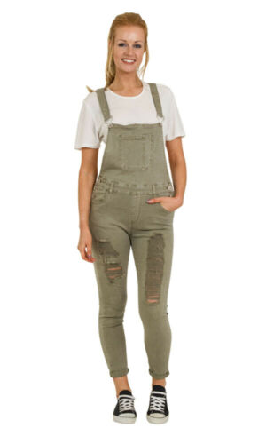 Green Distressed Denim Dungarees Skinny Fit Ladies Bib Overalls Rips Abrasions