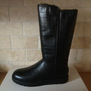 c9ee5f554 UGG CLASSIC TALL ABREE II CROC CROCO NERO BLACK LEATHER BOOTS SIZE ...