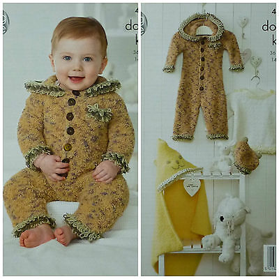 KNITTING PATTERN Baby All-In-One Jumper Hat /& Hooded Blanket Cuddles DK KC 4231