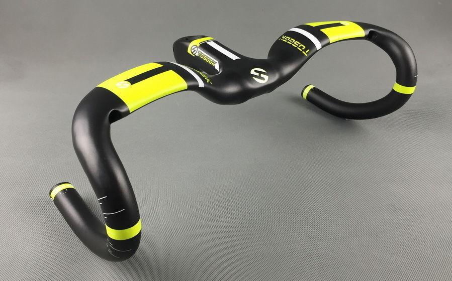 TOSEEK Carbon MTB Road Bike Cycling Racing Drop Integrated Bar Stem Handlebar