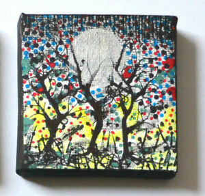Original-Gothic-Psychedelic-Oil-Painting-Wall-Art-Moon-Forest-Art-Birthday-Gift