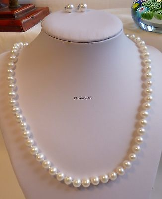 Fine Jewelry Sets Special Section Genuine Silver 6.5-7mm 5a Outstanding Freshwater Pearls Necklace+earring L47cm W Fine Jewelry