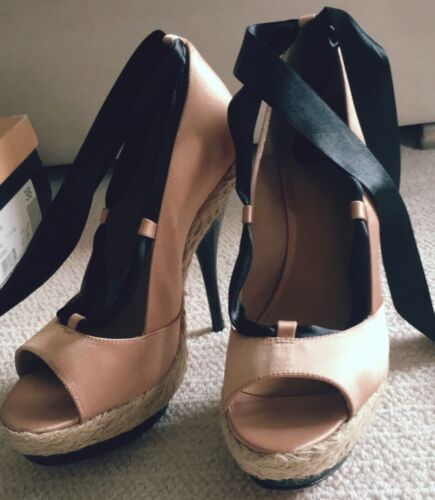 High 5 Peach Shoe Tie Carvela And Black Size Heel x8qPAwdF