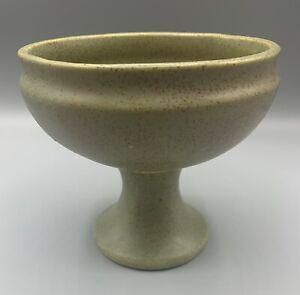 Vintage-McCoy-Floraline-461-Olive-Green-Pottery-COMPOTE-Footed-Planter-Vase-USA