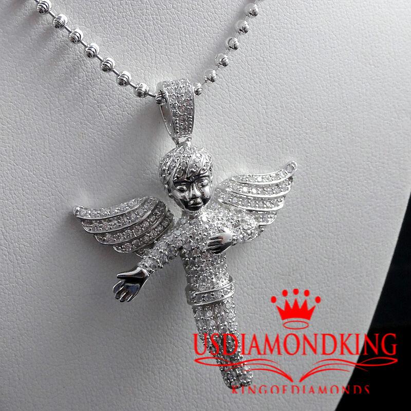Nuova 14K Bianco Bianco Bianco oro sopra argentoo Sterling Massiccio Angioletto Ciondolo f52758