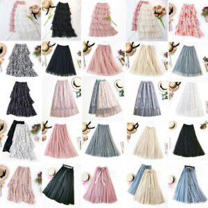 Summer-Women-Tulle-Layered-Swing-Skirt-High-Waist-Ruffle-Elastic-Long-Maxi-Skirt