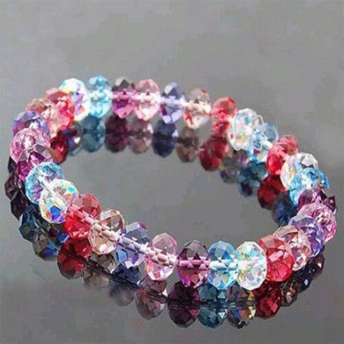 Femme Fille Fashion Crystal Faceted Loose Beads Bracelet Stretch Bracelet élégant