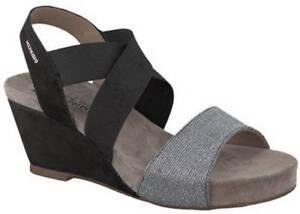 Ladies-Formal-Wedge-Sandal-Mephisto-Barbara-Black-Silver-EU-Size-37